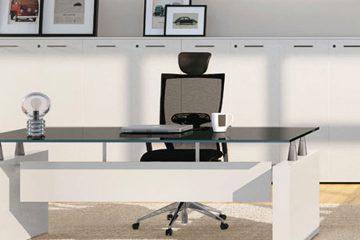 scrivania moderna in vetro per uso professionale